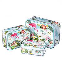 """Набор металлические коробочек 3шт. """"Влюбленные фламинго"""" (можно поштучно)"""