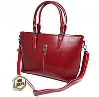 2da481e5118e Вместительная большая женская сумка из натуральной кожи Бордовая (красная)