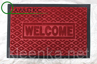 Коврик от грязи под двери с рисунком ромбы красный 40*60 см, фото 2
