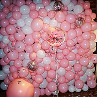Стена Фотозона из шаров для фотосессии Розовая с Белым