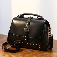 Молодежная сумка кожаная объемная маленькая черная опт, фото 1