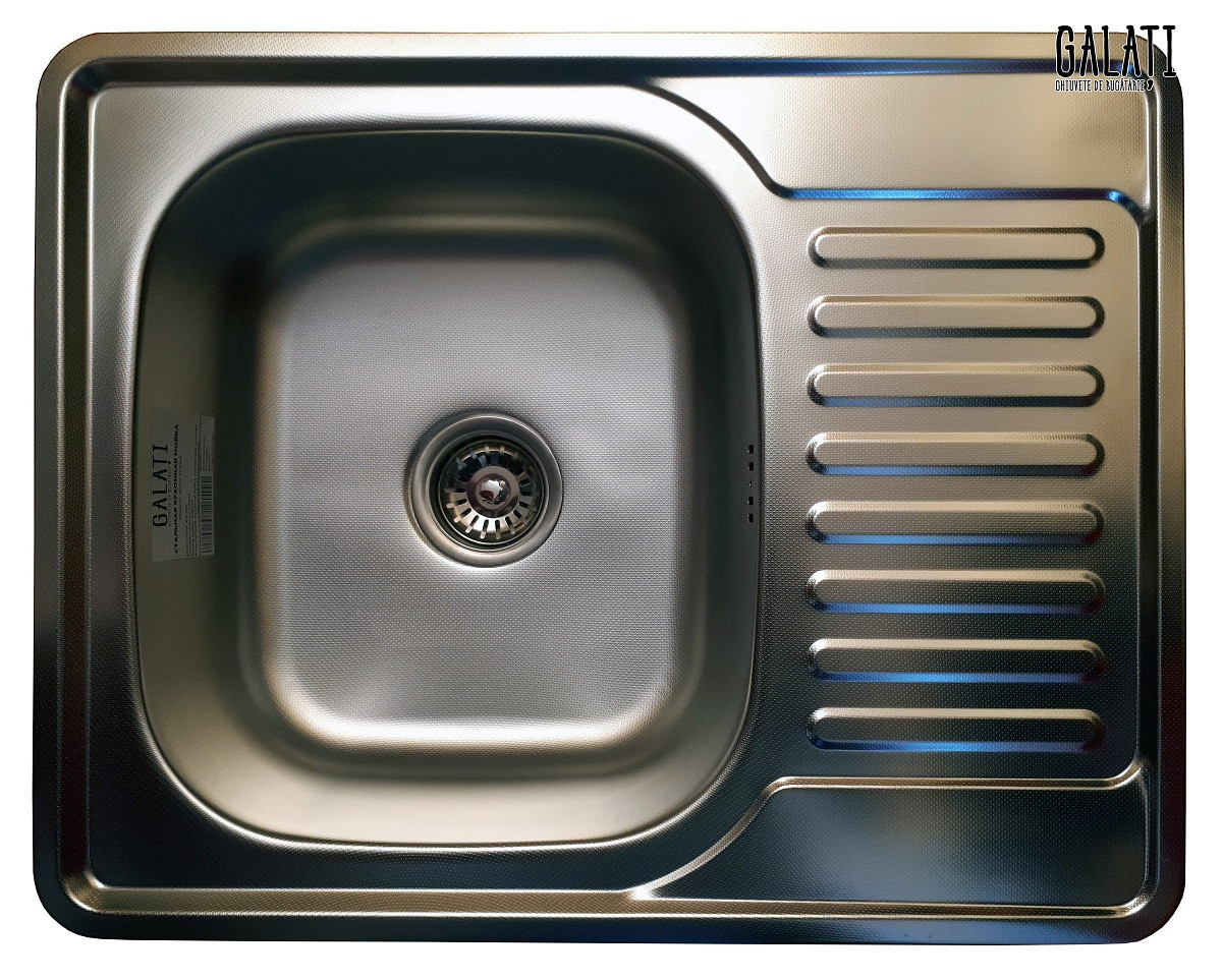Кухонная мойка Galaţi Donka Textură 63*50 стальная с крылом