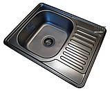 Кухонная мойка Galaţi Donka Textură 63*50 стальная с крылом, фото 3