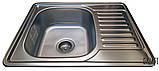 Кухонная мойка Galaţi Donka Textură 63*50 стальная с крылом, фото 4