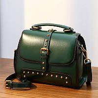 Жіноча шкіряна сумочка об'ємна зелена опт