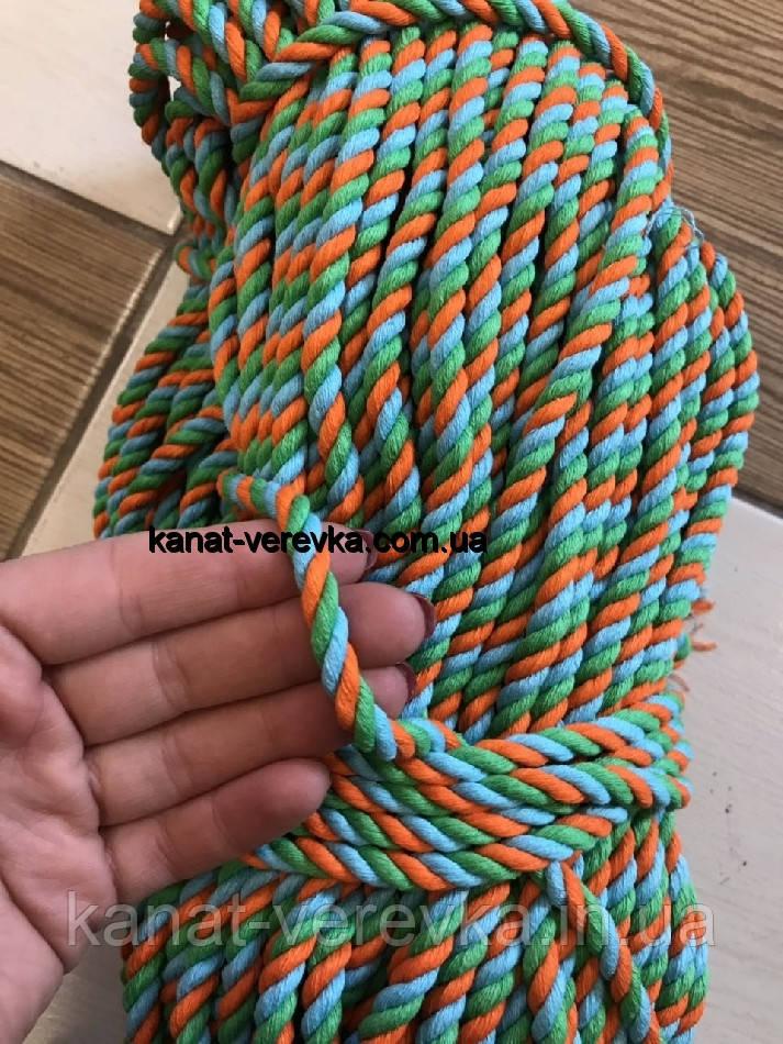 Цветная веревка из хлопка 6 мм – 100 м, крученая
