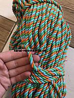 Цветная веревка из хлопка 6 мм – 100 м, крученая , фото 1
