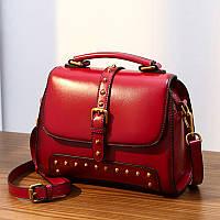 Модна жіноча сумка червона шкіряна об'ємна опт