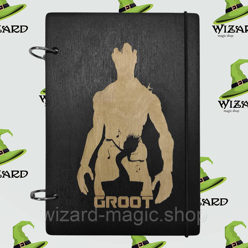 Скетчбук с деревянной обложкой (А5 черный лак) Грут