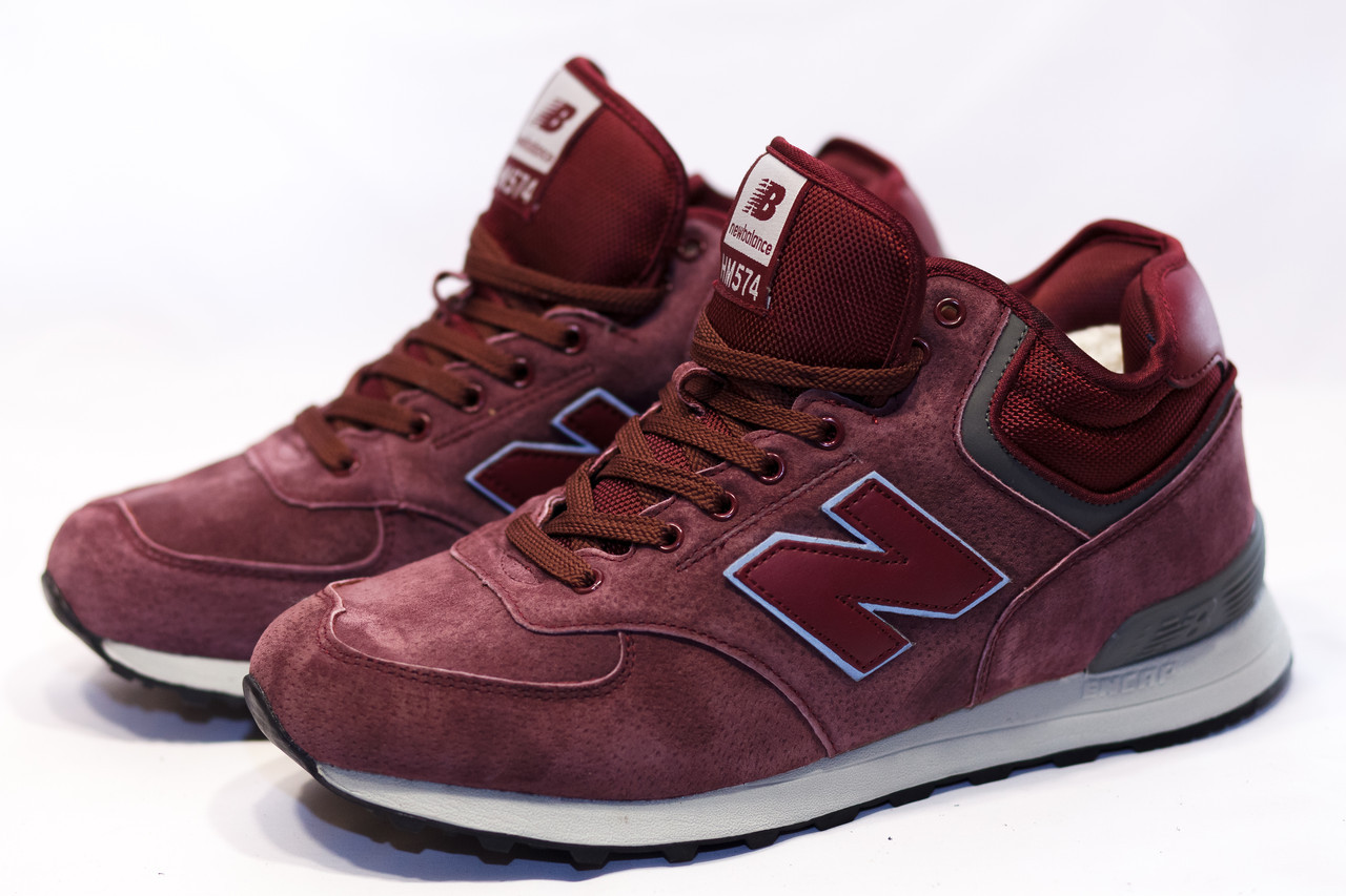 Мужские зимние ботинки на меху в стиле New Balance HM574, бордовые. Код  товара ДП 2b9b5ed141b