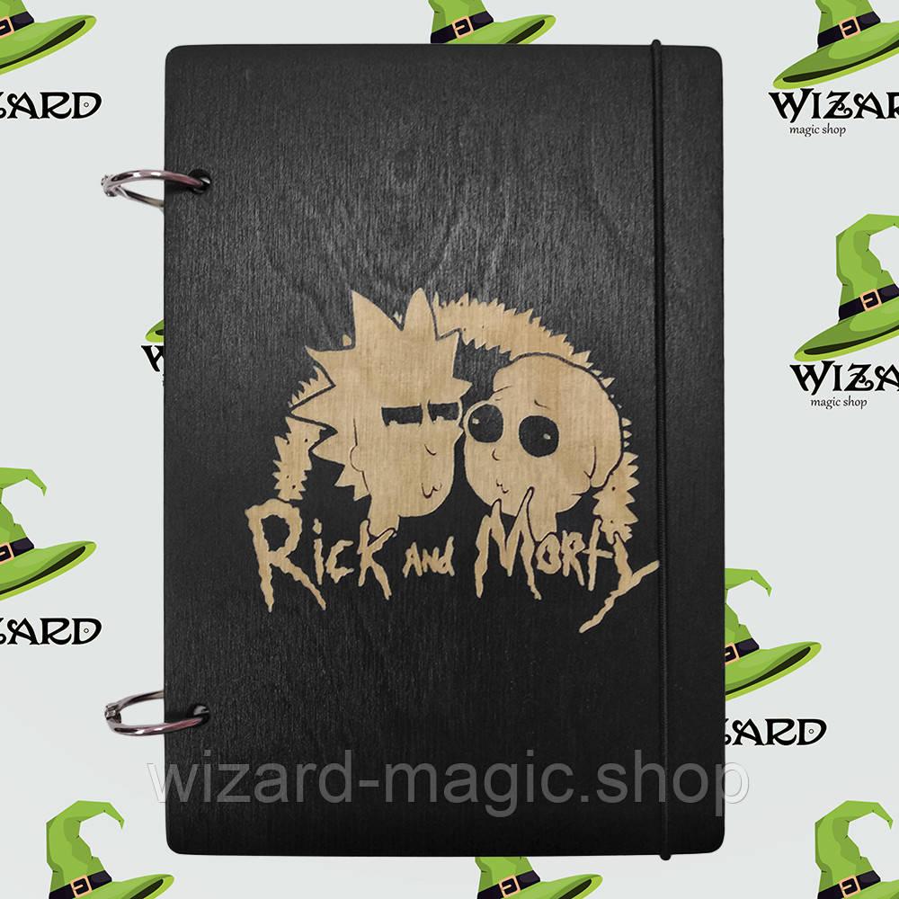 Скетчбук с деревянной обложкой А5 черный лак Рик и Морти № 2