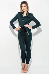 Костюм женский (пиджак и брюки) с вензелями из пайеток 68PD507 (Бутылочный)
