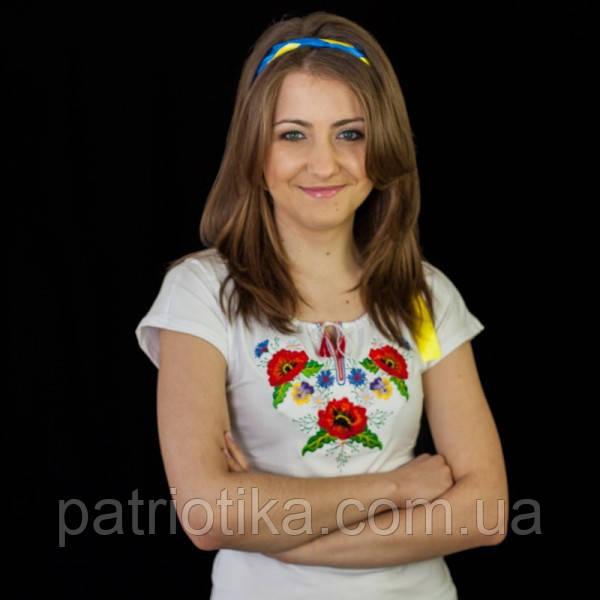 Женская вышиванка букет Анютыни глазки | Жіноча вишиванка букет Братки