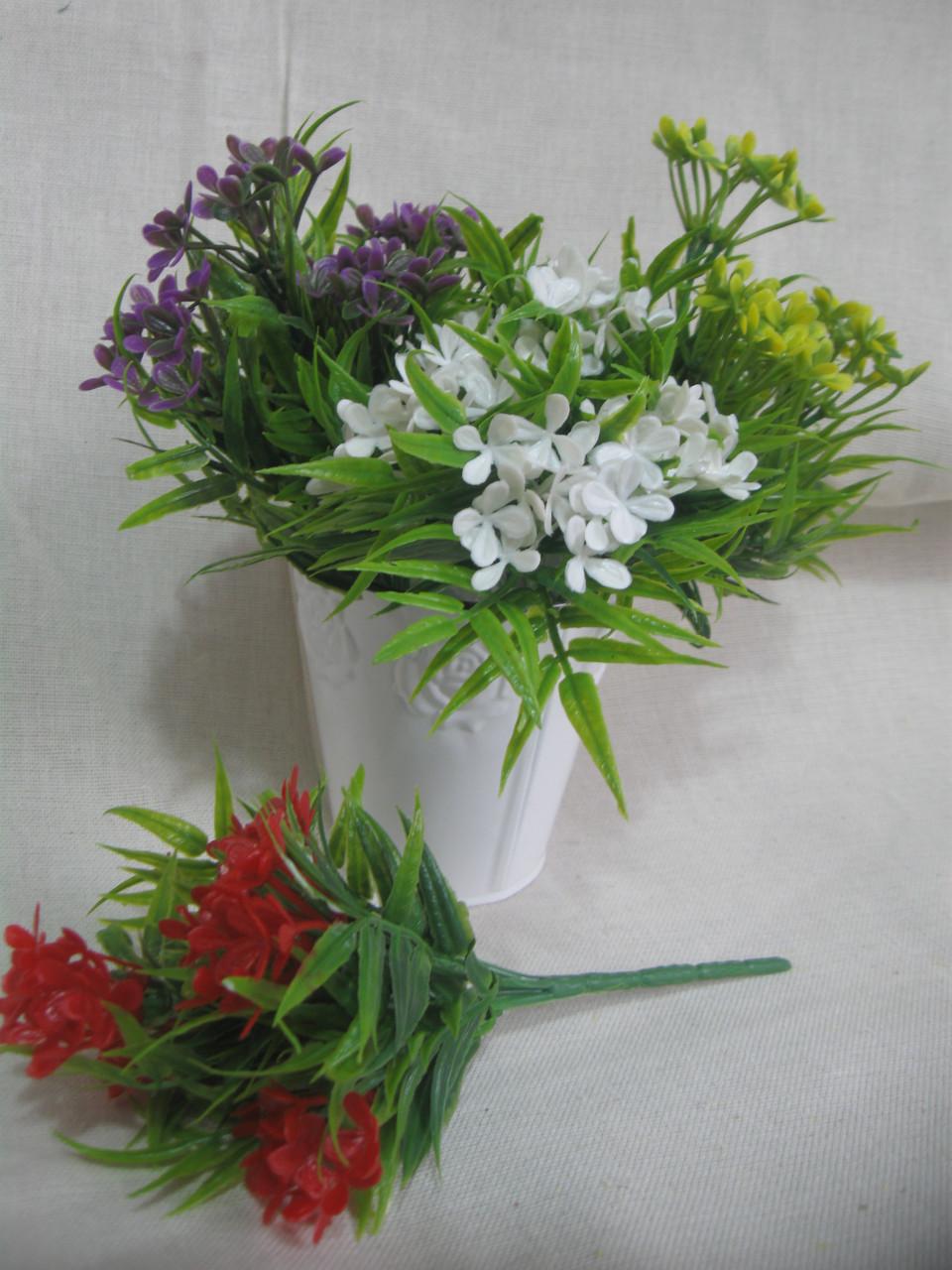 Цветочки пластиковые, высота ветки 24 см, 25\18 (цена за 1 шт. + 7 гр.)
