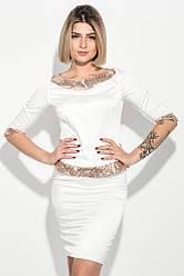 Костюм женский (блузка и юбка) с пайетками 68PD501 (Молочный)