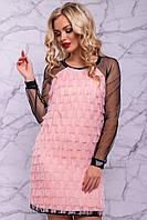 Женское платье из бахромы и сетки (3021-3020-3022 svt)