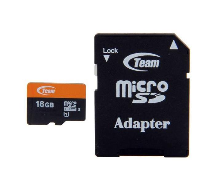 Карта памяти microSDHC, 16Gb, Class10 UHS-I, Team, SD адаптер (TUSDH16GUHS03)