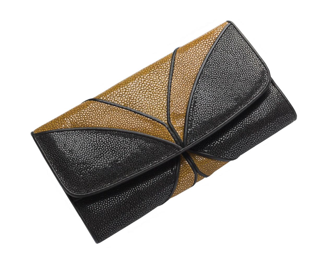 Кошелек женский Ekzotic Leather из натуральной кожи морского ската Черно- коричневый (stw 113_1)