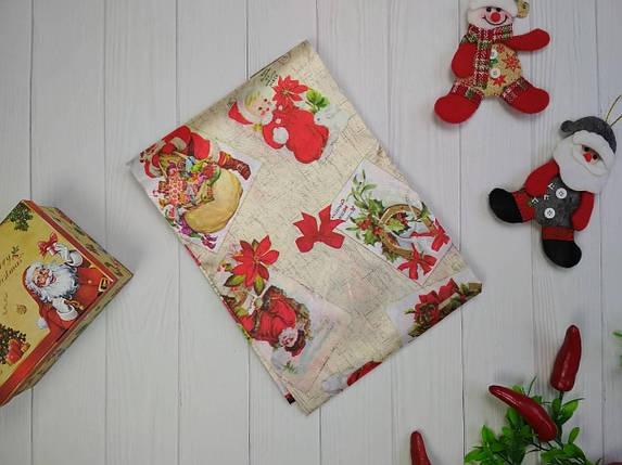 Скатерть новогодняя атласная 150*220 см Санта Клаус, новогодние атласные скатерти оптом от производителя , фото 2
