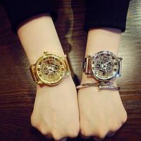Часы женские скелетон золото и серебро