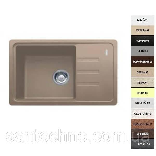 Гранитная кухонная мойка с крылом Argo Carina 620*435*200
