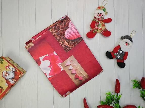 Скатерть новогодняя атлас 150*220 см Сердца, новогодние атласные скатерти оптом от производителя , фото 2