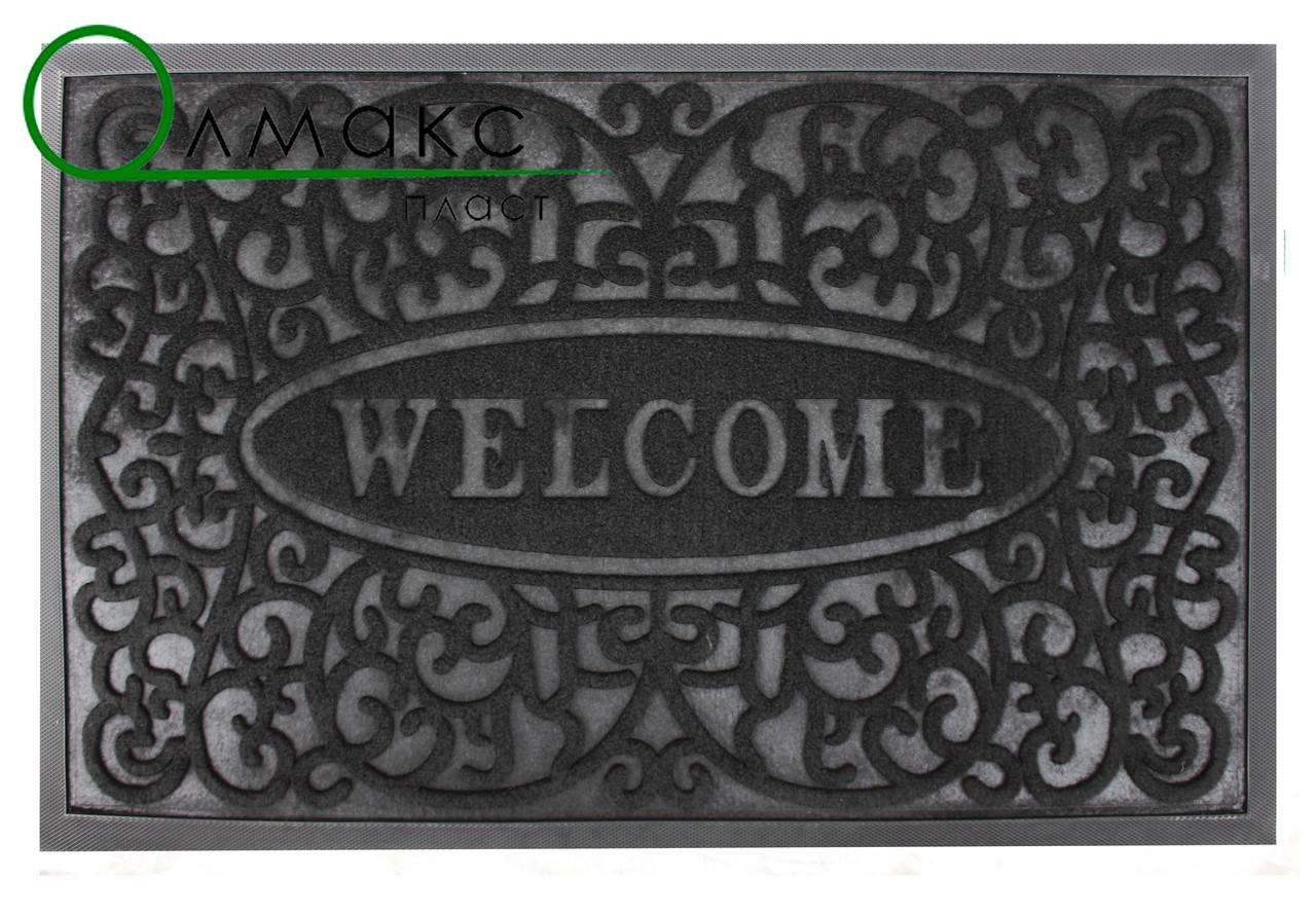 Придверный коврик Завитки Welcome 45*75 см черный