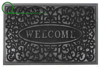 Придверный коврик Завитки Welcome 45*75 см черный, фото 2