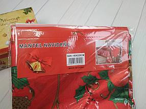 Скатерть новогодняя атласная 150*220 см Пуансетия, новогодние атласные скатерти оптом от производителя , фото 3
