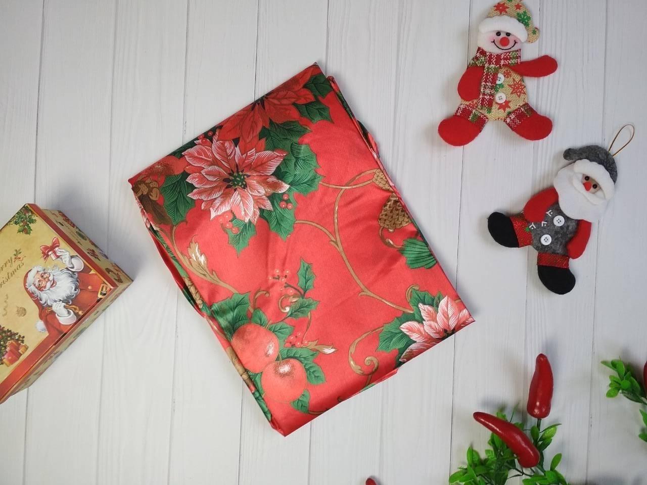 Скатерть новогодняя атласная 150*220 см Пуансетия, новогодние атласные скатерти оптом от производителя