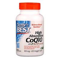 Коэнзим Q10, 100 мг 120 капсул с высокой степенью всасывания и биоперином, Doctor's Best, CoQ10