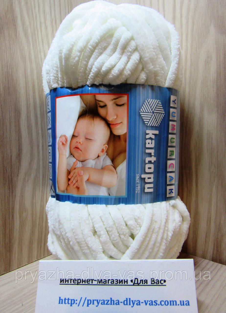 Детская плюшевая пряжа(100%-полиэстер, 100 г/ 95 м) Kartopu Yumurcak 0018(молочный(холодный))