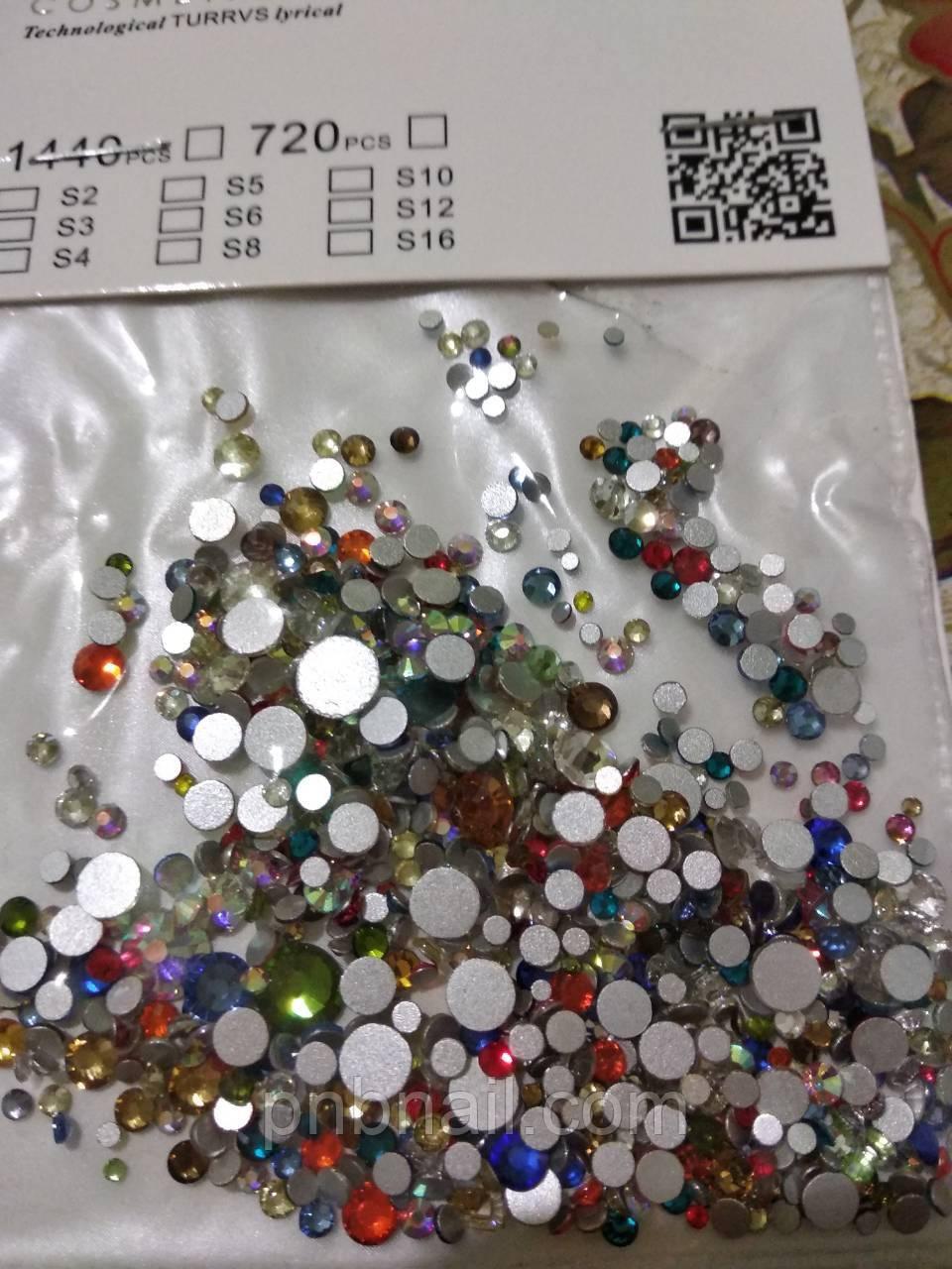 Стразы микс цвета и микс размер (стекло), 100 шт