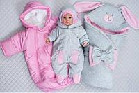 """Зимний набор на выписку """"Забавные Ушки"""" новорожденной девочке 5 предметов, фото 1"""