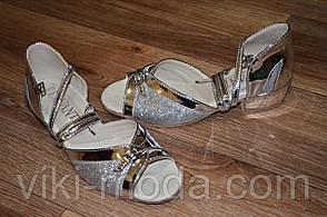 Туфли детские для танцев Виктория (серебро с напылением)