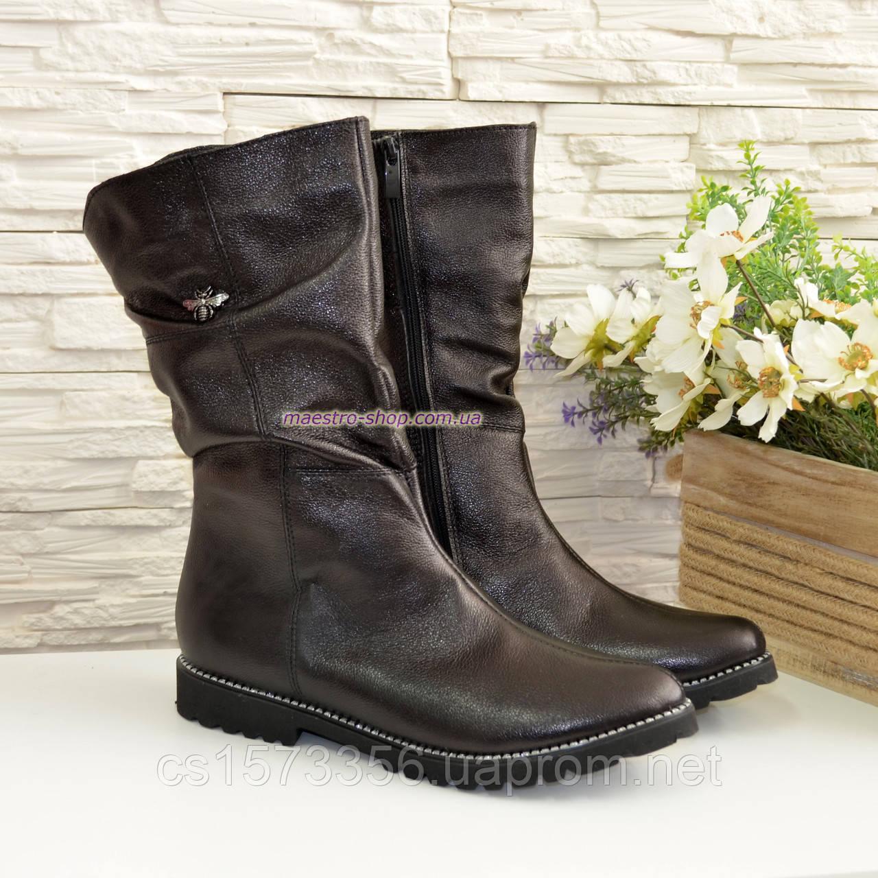 Женские зимние ботинки на меху, натуральная черная кожа
