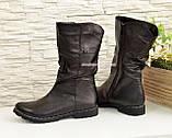 Женские зимние ботинки на меху, натуральная черная кожа, фото 3