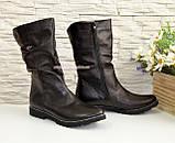 Женские зимние ботинки на меху, натуральная черная кожа, фото 4