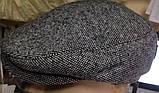 Кепка мужская светло серая шерстяная реглан 56-60 разм, фото 3