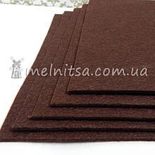 Фетр жесткий 3 мм, лист 25х25 см, коричневый (Китай)