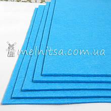 Фетр жесткий 3 мм, лист 25х25 см, голубой (Китай)