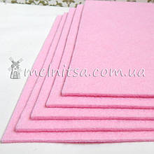 Фетр жесткий 3 мм, лист 25х25 см, св.розовый (Китай)