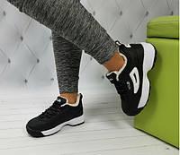 Кроссовки в стиле фила зима черные на белой подошве, фото 1