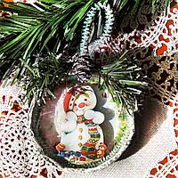 Подвеска медальон на елку Снеговик Подарок на День Святого Николая Рождество Новый год