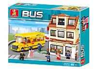 Конструктор Автобус - Школьный автобус со школой 496 дет.