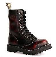 Высокие ботинки Steel бордово-черные с эффектом затертости на 10 дырок 177713 46,45,44,43,42,41,40,39,38,37,36,50,49,48,47, фото 1