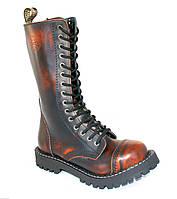Высокие ботинки Steel черно-оранжевые с эффектом затертости на 15 дырок 179011 46,45,44,43,42,41,40,39,38,37,36,50,49,48,47