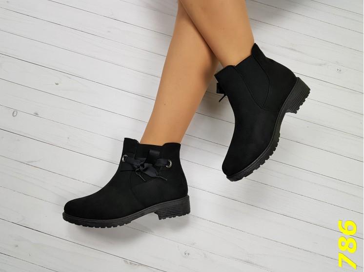 Ботинки зима на низком ходу с лентой черные 38, 41 размер