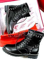 Зимние кожаные ботинки VALENTINO  (реплика), фото 1