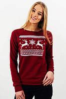 Свитшот Рождественский с оленями женский бордовый, XL